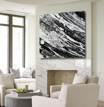 Modern Black and White Abstract Print, Ready To Hang, Large Wall Art, Print on Canvas, Black White Painting, Interior Decor, Livingroom, Fireplace, Contemporary Art by Julia Apostolova