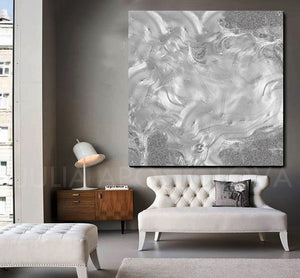 gray painting, grey painting, silver painting, gray, grey art, large wall art, julia apostolova, minimalist, minimal art, abstract art, modern, living room, contemporary art