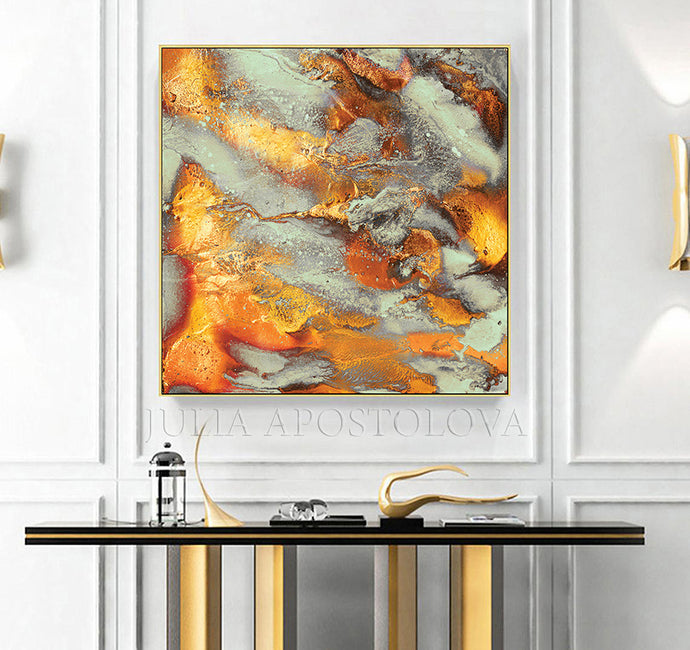 Autumn Decor, Large Wall Art, Modern Abstract Painting, Square, Canvas Print, Autumn Spirit, Julia Apostolova, Gold Leaf, Gold, Copper, Gray, Abstract Painting, Watercolor Abstract, Canvas Print, Modern Wall Decor, Julia Apostolova, Extra Large Wall Art, Abstract Painting, Canvas Print Gold, Julia Apostolova, interior, design, home decor, lobby, hotel lobby decor, bedroom, livingroom, restaurant decor, interior designer, art collector