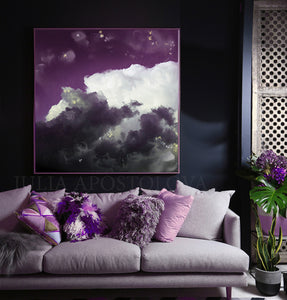 Cloud Painting, Modern Canvas Art Print, Purple White Abstract Trendy Art Decor, Mauve Cloud Wall Art, Trendy Wall Art Decor, Interior, Design, Julia Apostolova, Cloudscape, Art, cumulus, Living Room, Trending Art, Scandinavian, Nordic, Kids Room Decor