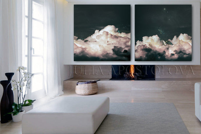 Cloud Paintings,Set of Two Canvas Prints, Minimalist Abstract Wall Art,Nordic Trendy Cloud Art Decor