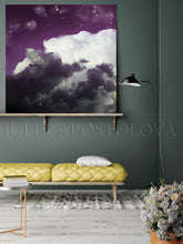 Cloud Painting, Cloud Wall Art, Modern Canvas Art Print, Purple White Abstract Trendy Art Decor, Mauve Cloud Wall Art, Trendy Wall Art Decor, Interior, Design, Julia Apostolova, Cloudscape, Art, cumulus, Living Room, Trending Art, Scandinavian, Nordic, Kids Room Decor