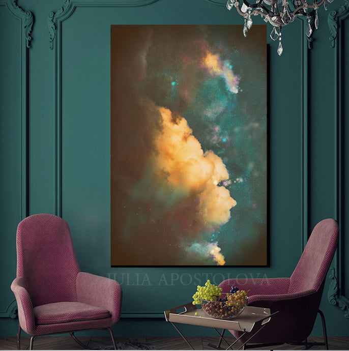 Abstract Cloudscape, Modern Cloud Painting, Cloud Wall Art Trend Canvas Print, Dark Teal Wall Art
