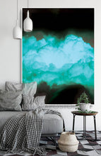 Black Teal Abstract, Cloud Photography Print, Turquoise Green, Wall Art Minimalist Home Office Decor, Julia Apostolova, Cloud Painting, Cloud Wall Art, Minimalist Painting, Dreamy Decor, Trendy Decor, Wall Art Cloud, Bedroom Wall Decor, turquoise wall art, Livingroom, Office Decor, Abstract Clouds, Interior, Design, Black and Teal Interior Designer, minimalist turquoise painting,