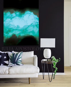 Black Teal Abstract, Cloud Photography Print, Turquoise Green, Wall Art Minimalist Home Office Decor