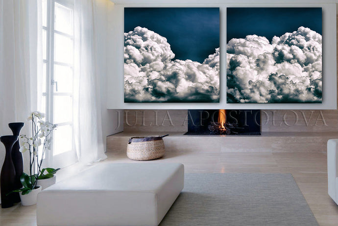 Navy Blue Wall Art Cloud Paintings, Cloud Abstract Wall Art Trendy Decor, 2 Cloud Art Canvas Prints, Julia Apostolova, Cloud Art Abstract Cloudscape, Trendy Decor, Minimalist Cloud Art, Decor, Interior, Design, Navy Blue Cloud Paintings, Large Cloud Art, Diptych, Office Decor, Art Gift for Him, Hotel Lobby Decor, Bedroom Wall Art, Relaxing Art