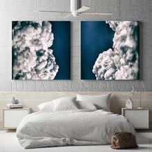 Navy Blue Wall Art Cloud Paintings, Cloud Abstract Wall Art Trendy Decor, 2 Cloud Art Canvas Prints