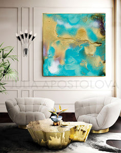 Coastal Decor, Abstract Print, Turquoise Painting, Beach Wall Decor, Abstract Seascape, Summer Art, Abstract Seascape, Beach Wall Decor, Turquoise Abstract Painting, Cell Art Print, Modern Decor, Living Room, Interior Decor, Cell Painting, Cell Abstract Art, Home Decor, Beach Art, Design, Interior Designer, Large Wall Art by Fine Artist Julia Apostolova, livingroom, decor, interior