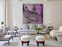 Purple Abstract Painting Print, Purple Black Wall Art Modern Decor, Ready to Hang Embellished Canvas