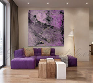 Purple Abstract Painting Print, Purple Black Wall Art Modern Decor, Ready to Hang Embellished Canvas, Julia Apostolova, Purple Abstract, Lilac Wall Art, Modern Wall Decor, Gold Leaf, Silver Leaf, Bedroom, Livingroom, Interior Designer