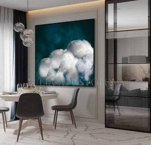 Large Cloud Art Abstract Painting, Cloud Wall Art Embellished Canvas, Modern Office Decor, Trend Art, Dark Teal, Wall Art Cloud Painting, Cloud, Large Cloud Art Textured Canvas Print, Modern Interior Decor, Julia Apostolova, Dreamy Art, luxury decor, art above bed art, airbnb decor, oil painting, abstract wall art, abstract print, abstract painting, abstract cloudscape, abstract clouds, interior decor, huge wall art canvas, teal home decor, teal and white, teal abstract, stretched canvas, abstract clouds