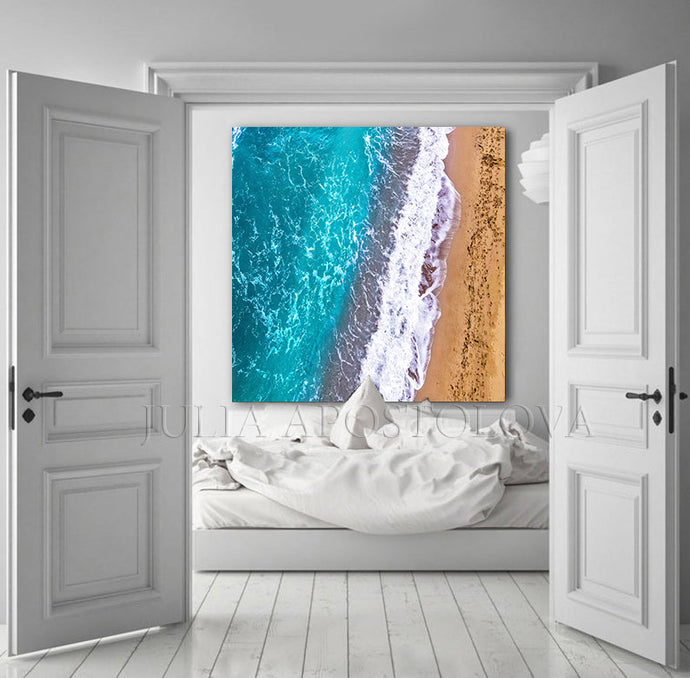Aerial Beach View Drone Photography Ocean Canvas Print Sand Beach, Turquoise Waters, Relaxing Decor, Aerial Beach ocean abstract art, Ocean Waves Aerial Photography Coastal Wall Art Zen Decor Turquoise Waters Canvas Print, Julia Apostolova, Greece, Greek Icelands, Aerial Beach, Zen, Bedroom Art, Art for Him, Office Decor, Sand Beach, Spa Decor, Piliates Gift, zen wall art, coastal, zen decor, Ocean Waves, zen abstract, watercolor, water wall art, Coastal Decor, Summer, Turquoise and Gold, large aerial photo