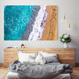 Aerial Beach Ocean Waves Aerial Photography Coastal Wall Art Zen Decor Turquoise Waters Canvas Print, Julia Apostolova, Greece, Greek Icelands, Aerial Beach, Zen, Bedroom Art, Art for Him, Office Decor, Sand Beach, Spa Decor, Piliates Gift, Drone Photography, zen wall art, coastal, zen decor, Ocean Waves, zen abstract, watercolor, water wall art, Coastal Decor, Summer, Turquoise and Gold, large aerial photo