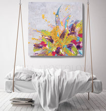 floral abstract, julia apostolova art, painting, canvas print, painted textures, rich textures, julia apostolova, metallic accents, abstract painting, flowers, gift for her, interior decor, modern decor, interior design, contemporary home, scandinavian decor, nordic style,
