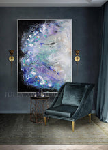 Abstract Floral Painting, Extra Large Wall Art , Julia Apostolova, Textured Canvas, Modern Decor, Elegant Paintin, Floral Wall Art, Interior, Decor, Art for Her, Landscape Art, French Art, Lavender ART, Landscape Abstract, Modern Wall Art, Interior Design, Bedroom Art, Living Room Wall Art Decor, Art Gift, Memories of Provence, Textured Painting, Black and Purple, Black and Lilac