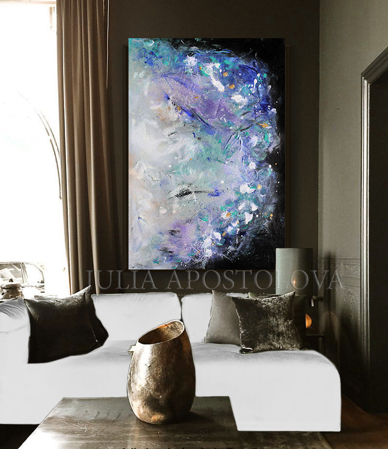 Abstract Floral Painting, 'Memories of Provence', Extra Large Wall Art , Julia Apostolova, Textured Canvas, Modern Decor, Elegant Paintin, Floral Wall Art, Interior, Decor, Art for Her, Landscape Art, French Art, Lavender ART, Landscape Abstract, Modern Wall Art, Interior Design, Bedroom Art, Living Room Wall Art Decor, Art Gift, Textured Painting, Black and Purple, Black and Lilac