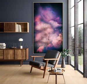 Extra Large Cloud Painting Dark Purple Wall Art Canvas Print Galaxy Painting, Modern Trendy Decor, Dark pink, Dark purple wall art, Julia Apostolova, Large Cloud Painting, galaxy abstract, cloud abstract, bedroom wall art decor, interior, dark lilac decor, sky painting, dark purple painting, dream decor, dark sky and stars, cloud and stars, dining room, master bedroom decor, trend painting, trend wall decor, interior design, interior designer, airbnb decor, office decor, home decor