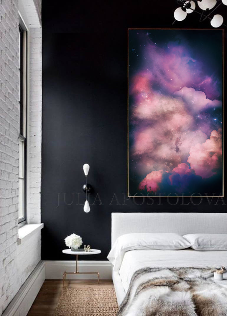Extra Large Cloud Painting Dark Purple Wall Art Canvas Print Galaxy Painting, Modern Trendy Decor, Dark pink, Dark purple wall art, Julia Apostolova, Large Cloud Painting, galaxy abstract, cloud abstract, bedroom wall art decor, interior, dark lilac decor, sky painting, dark purple painting, dark sky and stars, cloud and stars, dining room, master bedroom decor, trend painting, trend wall decor, interior design, interior designer, airbnb decor, office decor, home decor