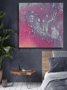 Purple Silver Abstract Wall Art, Watercolor Galaxy Painting Canvas Print with Shining Silver Accents