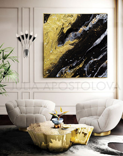 Black and Gold, Gold Leaf Painting, Gold Leaf Abstract Art, Gold Leaf Abstract Painting, Modern Art, Abstract Print, Ready To Hang, Large Wall Art, Art Print on Canvas, Black and Gold Painting, Contemporary Art by Julia Apostolova, modern design, interior, interior design ideas, interior designer, Fluid Abstract Art, Fluid Abstract Painting, Canvas, living room, home and office decor