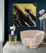 Luxury Decor, Interior, Black Gold Abstract Wall Art Contemorary Home Decor, Modern Design Canvas Painting, Black and Gold, Gold Leaf Painting, Gold Leaf Abstract Art, Gold Leaf Abstract Painting, Modern Art, Abstract Print, Ready To Hang, Large Wall Art, Art Print on Canvas, Black and Gold Painting, Contemporary Art by Julia Apostolova, modern design, interior, interior design ideas, interior designer, Fluid Abstract Art, Fluid Abstract Painting, Canvas, living room, home and office decor