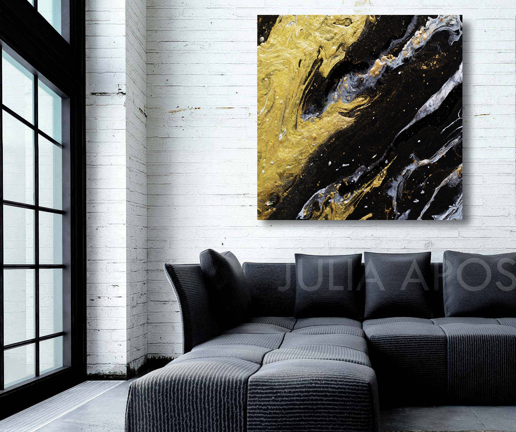Black Gold Abstract Art