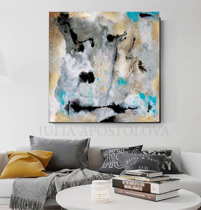 Extra Large Wall Art Set of Two Abstract Paintings 2 Canvas Prints Grey Black Gold Teal Julia Apostolova, Large Wall Art, Gold  Leaf, Abstract Painting, Gray Gold Turquoise Black, Watercolor Abstract, Canvas Print, Modern Wall Decor, Calm After The Storm, Julia Apostolova, interior, design, home decor, interior design, art collector