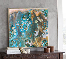 Beach Decor, Coastal Wall Art Decor, Turquoise and Gold, Cells Abstract Painting, Canvas Art Print