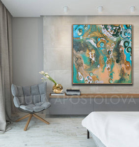 Coastal Beach Art, Wall Art Decor, Visual Fine Art, cosy decor, Julia Apostolova, Interior, Abstract Print, Turquoise Teal Gold, Abstract Seascape Painting