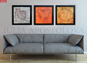Gold Gray Copper, 3 Panel Wall Art, Fall Art Minimalist Three Piece Canvas Framed Modern Decor, Julia Apostolova, Canvas Wall Art Modern