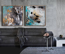 Extra Large Wall Art Set of Two Abstract Paintings 2 Canvas Prints Black Gold Teal Julia Apostolova