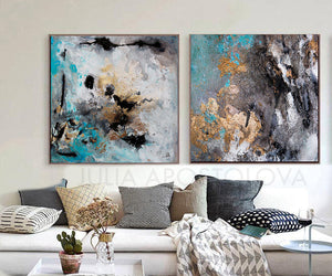 Extra Large Wall Art Set of Two Abstract Paintings 2 Canvas Prints Black Gold Teal Julia Apostolova, Large Wall Art, Gold Leaf, Abstract Painting, Gray Gold Turquoise Black, Watercolor Abstract, Canvas Print, Modern Wall Decor, Calm After The Storm, Julia Apostolova, interior, design, home decor, interior design, art collector