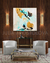 Gold Leaf, Minimal Art, Minimalist, White Gold Black Turquoise, Abstract Painting, Watercolor Abstract, Canvas Print, Modern Wall Decor, Julia Apostolova, Extra Large Wall Art, Abstract Painting, Canvas Print Black Gold Teal Julia Apostolova, Large Wall Art, interior, design, home decor, interior designer, art collector