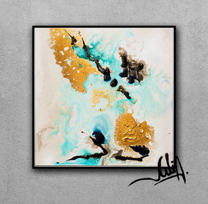 Gold Leaf, White Gold Black Turquoise, Abstract Painting, Watercolor Abstract, Minimal Art, Minimalist, Canvas Print, Modern Wall Decor, Julia Apostolova, Extra Large Wall Art, Abstract Painting, Canvas Print Black Gold Teal Julia Apostolova, Large Wall Art, interior, design, home decor, interior designer, art collector