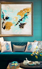 Gold Leaf, White Gold Black Turquoise, Abstract Painting, Watercolor Abstract, Canvas Print, Modern Wall Decor, Julia Apostolova, Extra Large Wall Art, Abstract Painting, Canvas Print Black Gold Teal Julia Apostolova, Large Wall Art, interior, design, home decor, interior designer, art collector