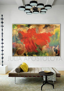 Flower Abstract Wall Art ,Spring Decor, Gallery Wrapped Canvas Print, Contemporary Painting, Colour Art, Julia Apostolova, Huge Wall Art, Colorful Wall Art, Floral Painting, Wall Decor, Gift for Her, Livingroom Decor, Autumn Art, Spring Art