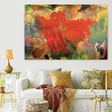 Flower Abstract Wall Art Spring Decor, Gallery Wrapped Canvas Print Contemporary Painting Colour Art