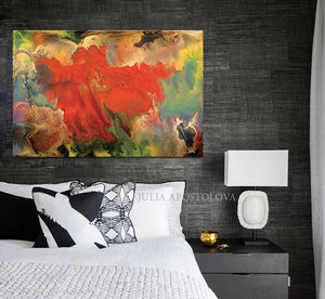 Flower Abstract Wall Art ,Spring Decor, Gallery Wrapped Canvas Print, Contemporary Painting, Colour Art, Julia Apostolova, Huge Wall Art, Colorful Wall Art, Floral Painting, Wall Decor, Gift for Her, Livingroom Decor, Autumn Art, Spring Art, Bedroom Art