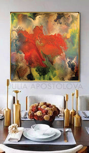 Floral Abstract Wall Art, Modern Painting Canvas Print Contemporary Home Art Decor, Julia Apostolova, floral abstract, interior, spring decor