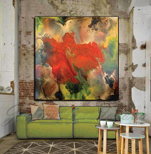 Floral Abstract Wall Art, Modern Painting Canvas Print Contemporary Home Art Decor, Julia Apostolova, floral abstract, happy clients, clients homes