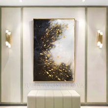 Gold Leaf Painting, Minimalist Art, Black White Art, Original Painting for Luxury Decor, Julia Apostolova, luxury gold interior, living room, dinning room, office decor, hotel lobby decor, art, interior designer, glam wall art, black and white. original wall art, gold leaf art, minimalist painting, interior design ideas