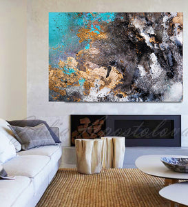 Abstract Gold Leaf Painting Print, Black Gold Teal, Large Wall Art, Modern Decor by Julia Apostolova, turquoise and black, watercolor print, Gold Leaf Wall art, Julia Apostolova, interior decor, huge art, large wall art, art painting canvas, luxury gold art, abstract gold leaf, abstract watercolor art, modern trendy art, livingroom wall art, interior designer, bedroom art, art for master bedroom, large painting on canvas, gold leaf original painting, glam decor, gray gold turquoise black, marble canvas art