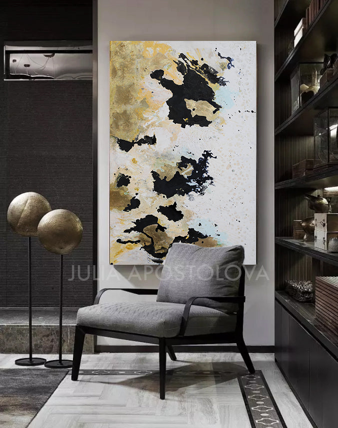 Gold Leaf Painting, Luxury Wall Art Decor, Original Art, Julia Apostolova, Black White Gold Abstract Art, Glam Art, ''New Beginnings'', Gold Leaf Wall Art , livingroom, sophisticated art, glamorous art, Contemporary art, home, office, hotel, restaurant decor.  Original Ready to Hang, Abstract Painting, Gold Leaf, shining accents, artist, interior, interiior design, designer, wall decor