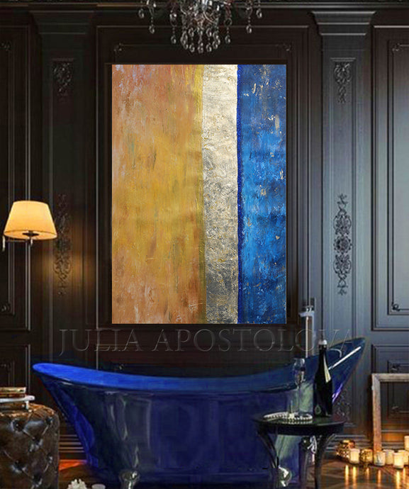 Minimalist Art, Gold Leaf Painting, Navy Blue Abstract, Luxury Art,  Blue and Gold, Modern Design, Gold Abstract Wall Art, Contemorary, Home Decor, Blue and Gold, Gold Leaf Painting, Julia Apostolova, Gold Leaf Abstract Art, Gold Leaf Abstract Painting, Canvas Painting, Modern Art, Abstract Print, Ready To Hang, Large Wall Art, Art Print on Canvas, Black and Gold Painting, Contemporary Art, interior, interior design ideas, interior designer, Oil Painting, Canvas, living room, home decor, office decor