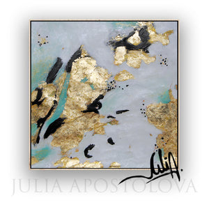 Original Painting, Black White Gold Wall Art Elegant Gold Leaf Abstract Painting by Julia Apostolova, Elegant Painting, Luxury Decor, Interior, Glam Decor, Interior Designer, Interior Design, LivinRoom Decor, Bedroom, Office Decor, Art Gift for Her, Large Wall Art, White Black and Teal