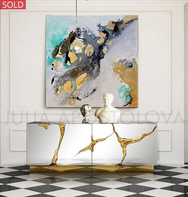 Original Abstract Painting Black White Wall Art with Gold Leaf by Fine Artist Julia Apostolova