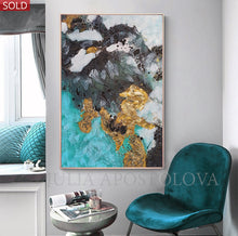 Abstract Gold Leaf Painting, Original Wall Art, Black White Teal, Modern Decor by Julia Apostolova