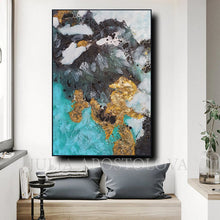 Abstract Gold Leaf Painting, Original Wall Art, Black White Teal, Modern Decor, Julia Apostolova, Luxury Wall Art Abstract, Elegant Interior Decor, Gold Leaf Wall Art, Teal Gold Art, Luxury Wall Art Decor, Original Art, Gold Abstract Art, Glam Art, Gold Leaf Art, livingroom, sophisticated art, glamorous art, Earth tones, Earth colors, Contemporary art, home, office, hotel, restaurant decor, Ready to Hang, Abstract Painting, Gold Leaf, shining accents, artist, interior, interior design, designer, wall decor