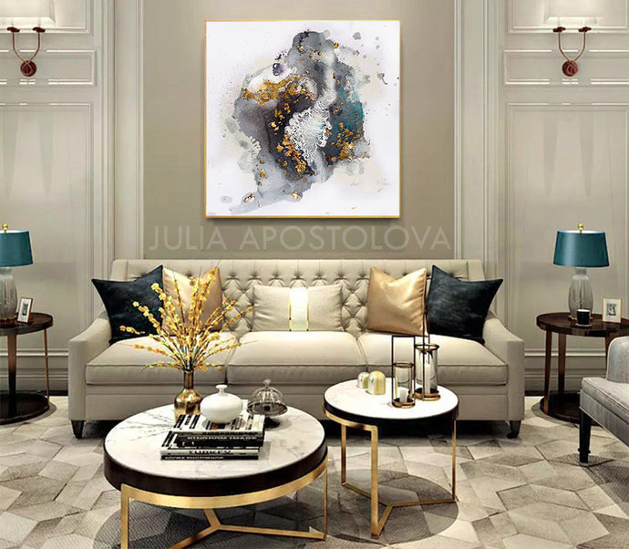 Gold Leaf Painting, Black White Gold Wall Art, Elegant Abstract, Textured Canvas Print, Julia Apostolova, Black and White Art, Minimalist Painting, Modern, Contemporary, Wall Art Decor, Interior, Luxury