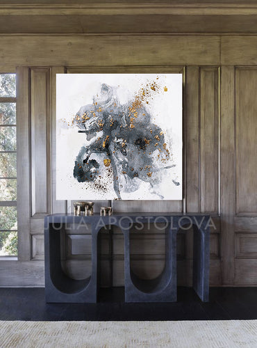Modern Watercolor Painting, Gray Black White Gold Abstract Wall Art Canvas Print for Office or Home